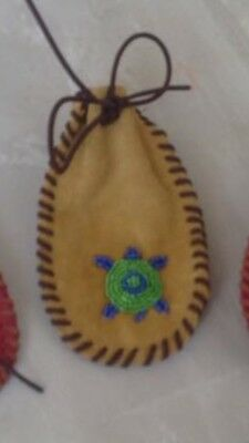 Native American Style Beaded Leather Medicine Bag/pouch