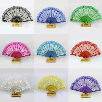 AU Chinese Dance Party Wedding Lace Flower Folding Hand Held Flower Fan 10Color