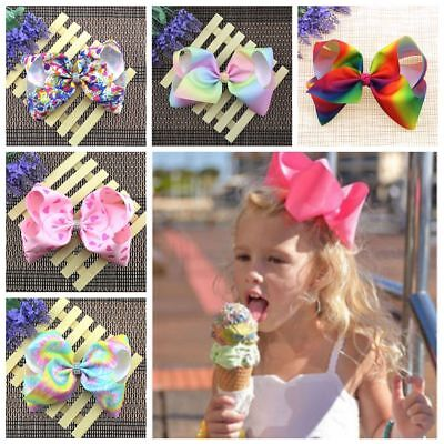 Girls 8 Inch Boutique Hair Accessory Knot Grosgrain Ribbon Flower Bow Hair Clips