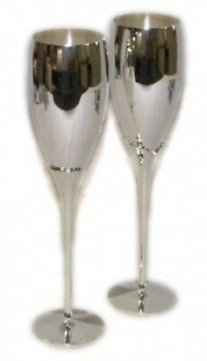 Pair of Silver Plated Champagne Flutes - Knight Brand. ThePresentStore