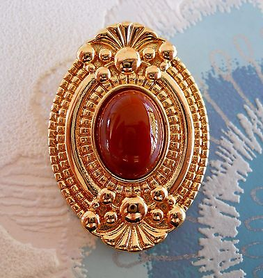 Vintage Gold Tone Scarf Clip / Ring With Terracotta Coloured Glass Cabochon