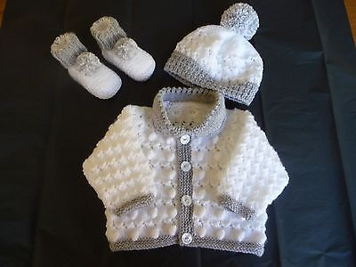 Hand Knitted Baby Cardigan, hat , bootees  ~  Boy ~ 0 - 3 months   White / Grey