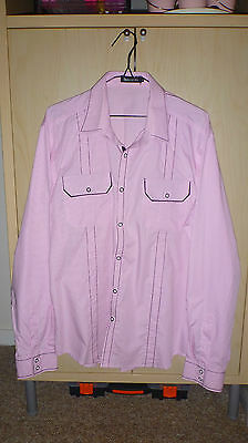 Mens Immortal Pink With Black Highlights Long Sleeved Shirt Size Xl