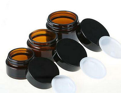 1pcs Glass Amber Facial Cream Jar Empty Cosmetic Container 5g 10g 20g 30g 50g