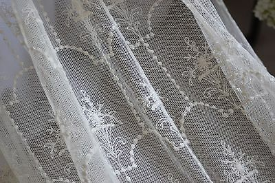 ANTIQUE REGENCY IRISH LIMERICK NEEDLE RUN LACE PANEL VEIL, STOLE, 56/110 inches