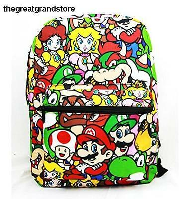 71ced13aa0 Disney Marvel Nintendo 16 inch Backpack Super Mario Zipper Closure Pocket