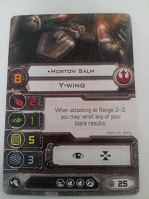 "Star Wars X Wing Miniature Game Rebel ""Horton Salm"" Y Wing Card"