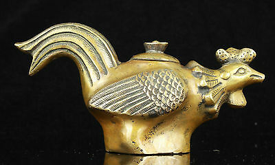 China Collectible Old Handwork Carving Bronze Lifelike Rooster Statue Teapot