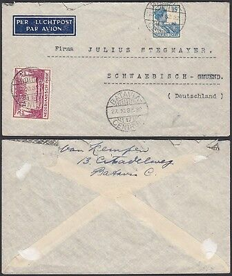 India-Netherlands 1932- Airmail cover and used stamps to Germany..(G23740) A6282