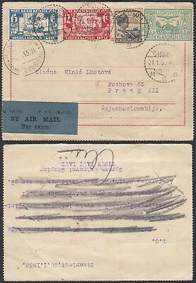 India-Netherlands 1933- Airmail postcard and used stamps to Praga(G23740) A6276
