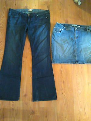 womens Maternity Lot Jeans and Skirt sz 33 XL Paige Old Navy Denim