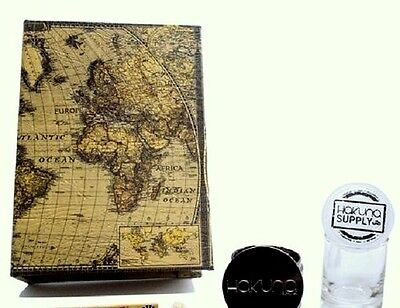 Locking Book Wooden Stash Box In Antique Atlas Design,new With Free Gifts!