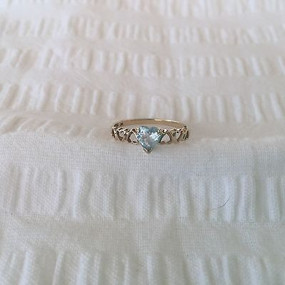 Genuine 9ct Yellow Gold RING sz O1/2..Hearts & Pale Blue Stone..Sweet...