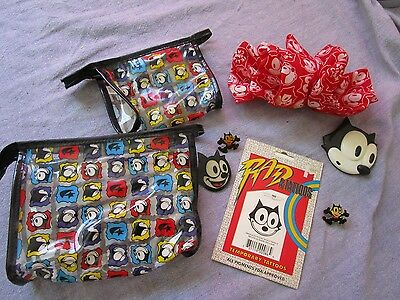 Mixed Lot Felix the Cat Hair bow/pins/tattoo/ makeup Bags