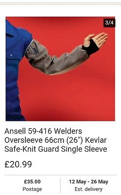 Kevlar welding sleeves made by ansell × 3 pairs