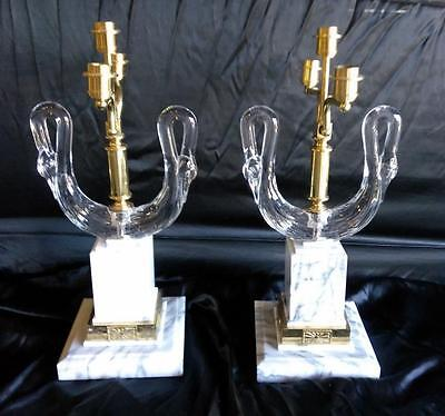 Pair of 2 Two Glass Swan Marble Brass Candlesticks Candelabras Hollywood Regency