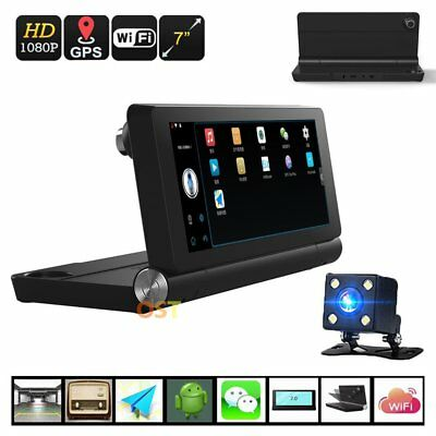 "WIFI 7"" HD 1080P Android Car Dual Camera Rear View DVR Recorder + GPS Navigator"