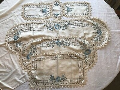 Vintage Hand Embroidered 6 Pc Set Table/Stand Runners