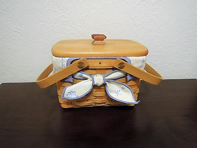 Retired Longaberger 1999 Market Basket with Seashell Liner & Protector Included