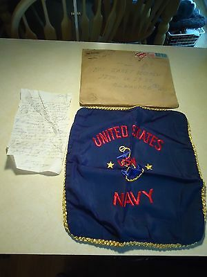 Vintage United States NAVY pillow case 1943 letter from service member WWII
