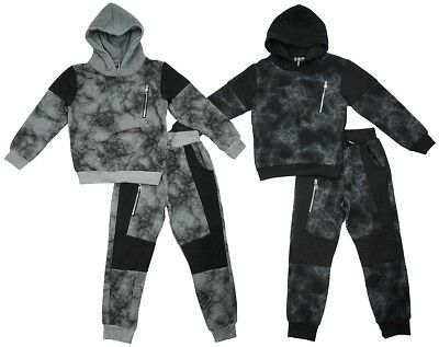 Boys Tracksuit Marble Effect Zip Chest Hooded Jogging Suit Kids 3 to 12 Years