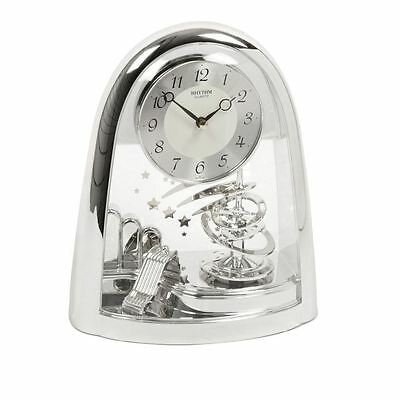 Rhythm Quartz Silver Rotating Spiral Pendulum Motion Mantel Clock 4SG607WS19 new
