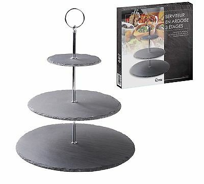 3 Tier Grey Slate Stone Cake Stand Presentation Sandwich Tea Party Silver Handle