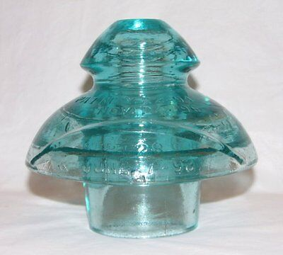 Fred M. Locke Mershon Type Glass Insulator Four Patent Dates Victor NY CD 288