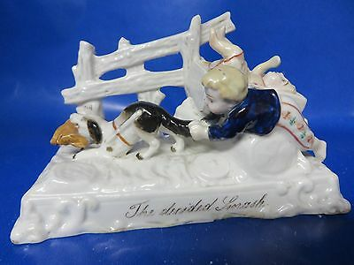 Rare Antique German Porcelain Fairing The Decided Smash