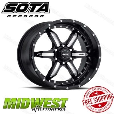 SOTA Offroad SPYK Death Metal Black 6 Lug 20x9 6x5.5 Bolt Pattern +18mm Offset