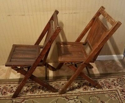 (LOT OF 2) Antique Simmons Company Wooden Folding Chair Wood Foldable Chairs
