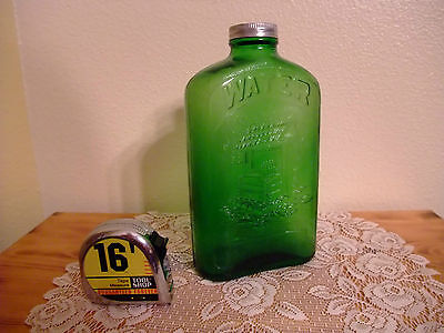Hemingray Wishing Well Green Water Refrigerator Bottle Carnival glass with cap