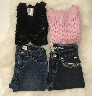 Lot Of 4 Girl's Sz 8 Justice Old Navy Sweaters Jeans Pants Back To School