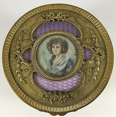 Antique French Gilt Bronze Lavender Enamel Hand Painted Lady Portrait Vanity Box