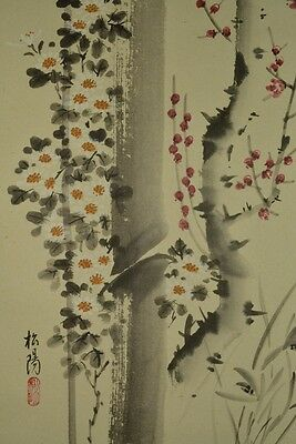 Hanging Scroll Bamboo Japanese Plum Painting Orchid Asian art Japan Picture s96