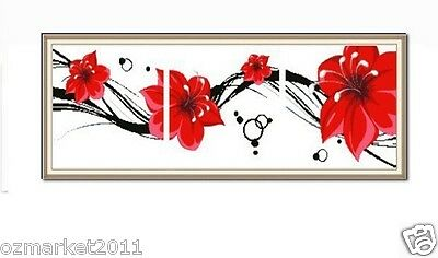 Flowers Decoration Length100CM* Width32CM Cross-Stitch Red Flowers Blooming  !)