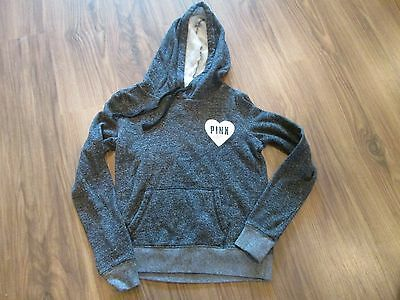 Victoria Secrets PINK Marled Gray and Black Hooded Sweatshirt Sz Small EUC
