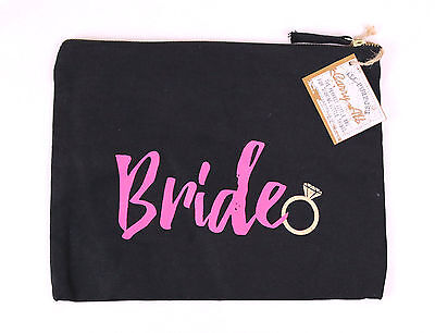 CARRY-ALL All Purpose Bride Canvas Tote Bag Black Pink Wedding Honeymoon Small
