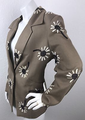 Vintage 1970's CHRISTIAN DIOR BOUTIQUE Brown Jacket Blazer DAISIES Size Medium