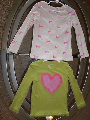 *Baby Gap & Old Navy* sz 4/5 pink green heart dogs girls long sleeve 2 shirts