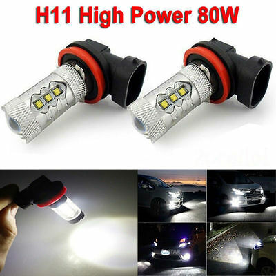2x 6000K White H11 High Power 80W CREE LED Bulb Fog DRL Driving Lamp Headlgiht