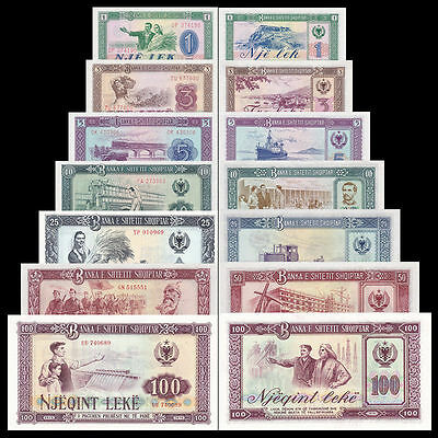 Full Set Albania Paper Money 1976, Banknotes: 1, 3, 5, 10, 25, 50, 100 leke. UNC