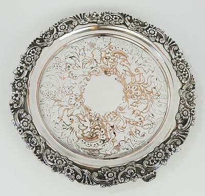 Pretty OLD SHEFFIELD PLATE WAITER TRAY c1830 William IV Floral Design