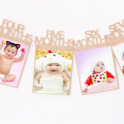 12 Months Kraft Paper Baby Picture Photo Frame Banner Wall Hanging Sign