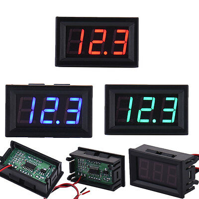 Mini LED Panel DC 5-30V Voltmeter 3-Digital Voltage Display Meter 2-wire 3 color