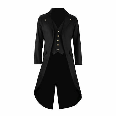 Men's Black Cotton Twill STEAMPUNK TAILCOAT Jacket Goth Victorian Coat/Trench