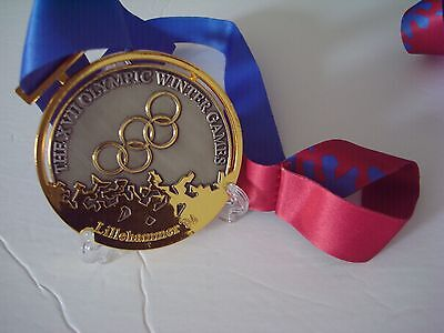 1994 Lillehammer Norway Olympic 'Gold' Medal with Silk Ribbon &Display Stand !!!