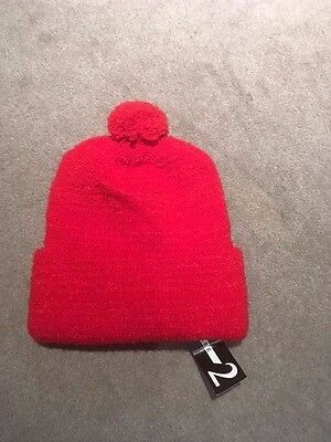 Phase 2 Beanie Red Pull On  Double Cuff Pom Pom Top Unisex One Size Sale  £3.99