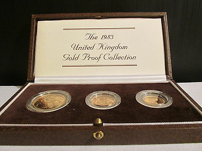 1983 United Kingdom Gold Proof 3 Coin Set In Original Mint Condition