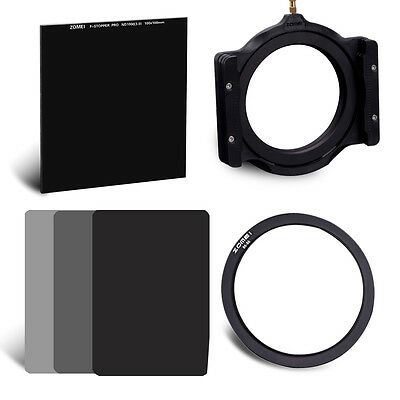 ZOMEI Neutral Density Glass ND1000+ND2 4 8 Cokin Square filter Kit+holder+82Ring